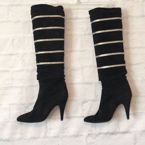 Casadei Black Suede striped crystals tall …